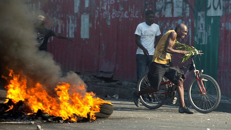 Demonstranterna kräver presidentens avgång och lösningar på Haitis ekonomiska kris.
