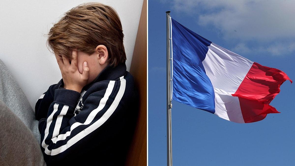 Bild vänster: Barn med händerna framför ansiktet. Bild höger: Franska flaggan.