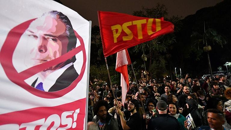 Demonstration mot Brasiliens president Michel Temer.