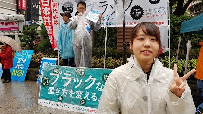Iwasaki Shizuka valtalar för Japanska kommunistpartiet.