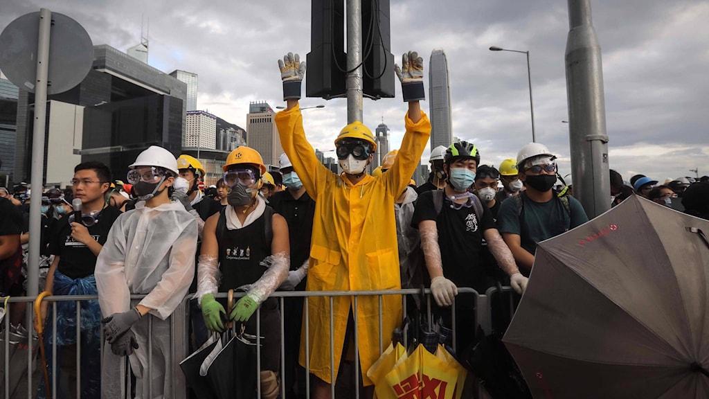 Demonstranter i Hongkong 1 juli.