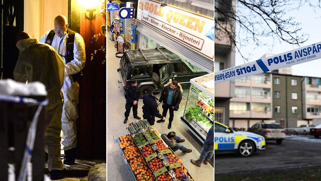 Polisens kriminaltekniker, bil har körts in i butik för att kunna råna, polisavspärrning.