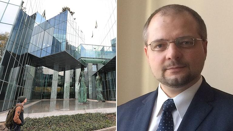 Till vänster: Polens högsta domstol. Till höger: Aleksander Stepkowski., dess nye ordförande.