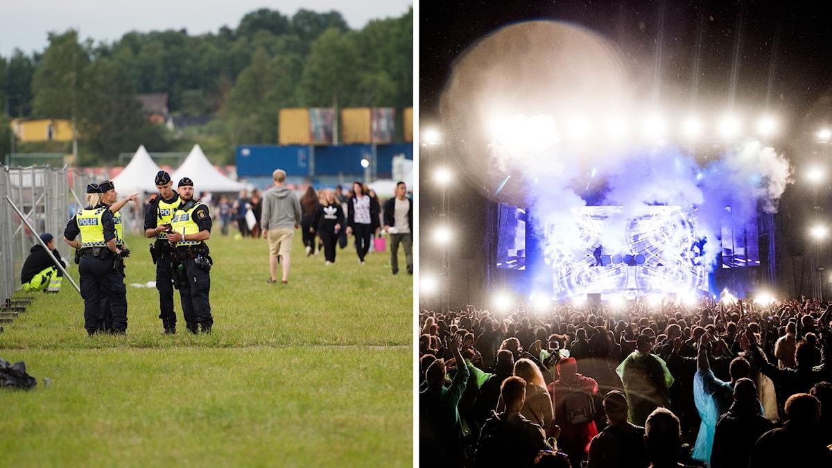 Poliser på festivalen.