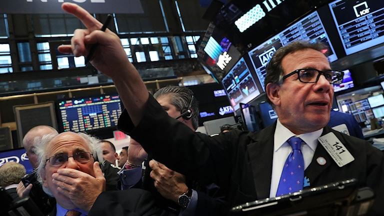 Aktiehandlare på New York Stock Exchange.