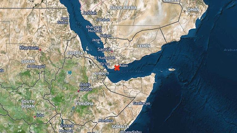 Hamnstaden Aden var tidigare huvudstad i Jemen