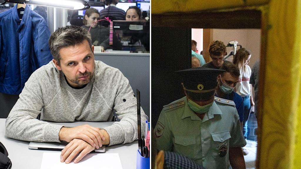 Roman Badanin, chefredaktör på oberoende gräv- och mediesajten Proekt (t.v). Den 29 juni i år genomfördes polisrazzior hemma hos chefredaktören och journalister från Proekt (t.h).