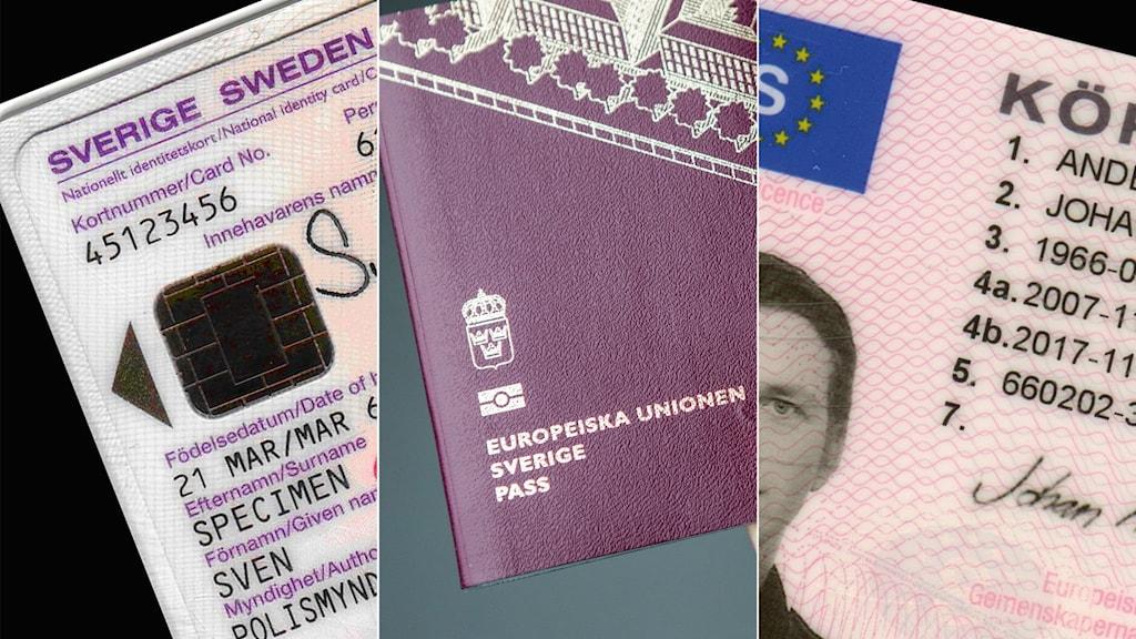 Tredelad bild: nationellt id-kort, pass, körkort