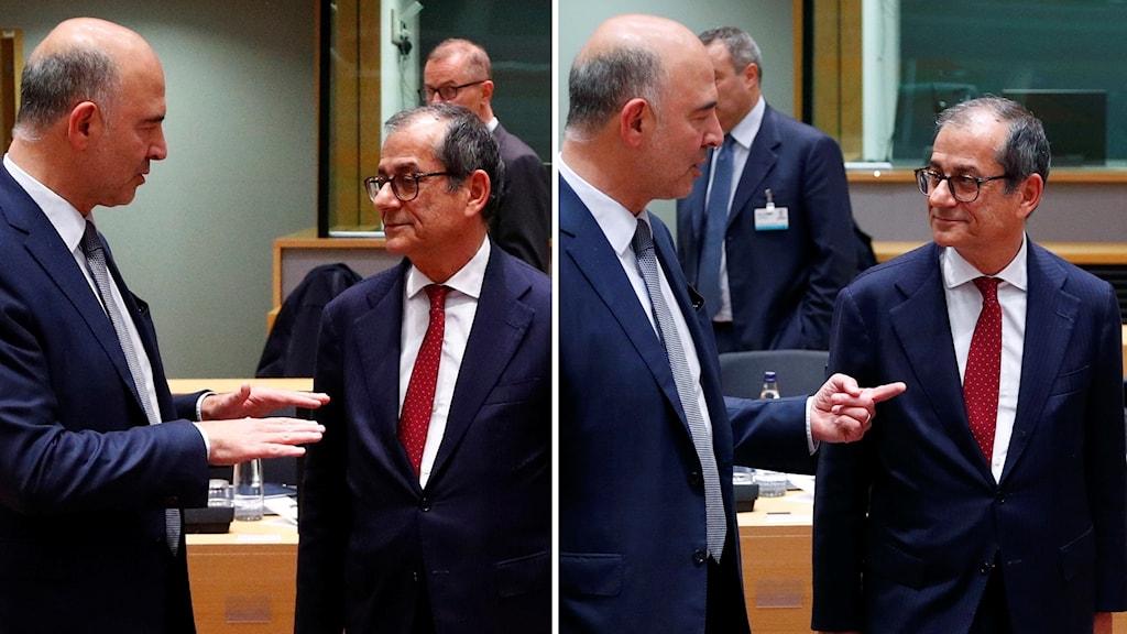 Pierre Moscovici och Italiens finansminister Giovanni Tria splitt