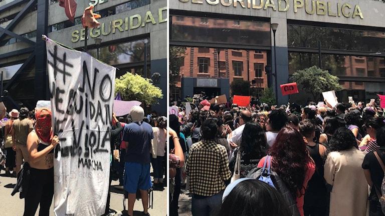 Hundratals demonstrerade utanför säkerhetsministeriet i Mexiko City.