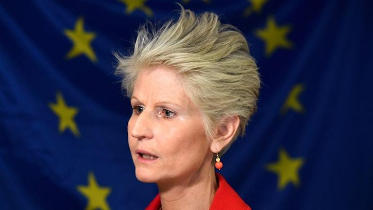 Moderaternas EU-parlamentariker Anna Corazza Bildt kommenterar att hon inte blev vald på M:s EU-lista under en pressträff i Sverige-huset.