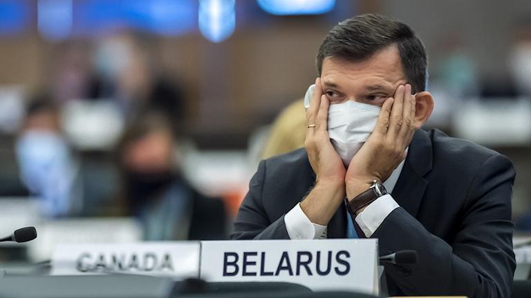 Yury Ambrazevich, FN-ambassadör för Berlarus, den 14 september 2020 i Genève.