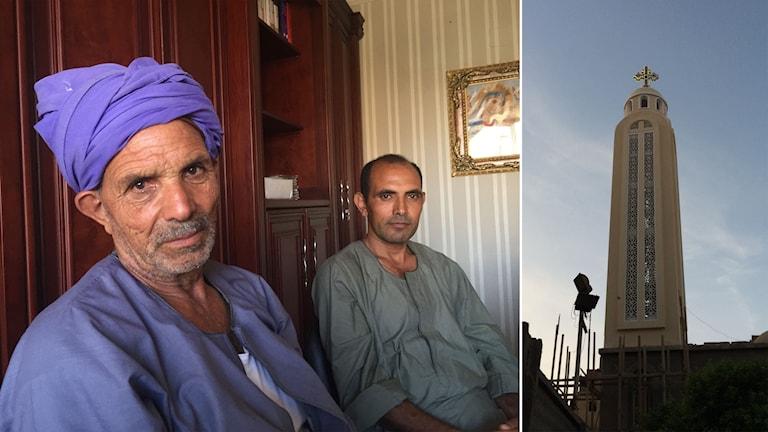 Delad bild: Två män och ett kyrktorn på en koptisk kyrka.