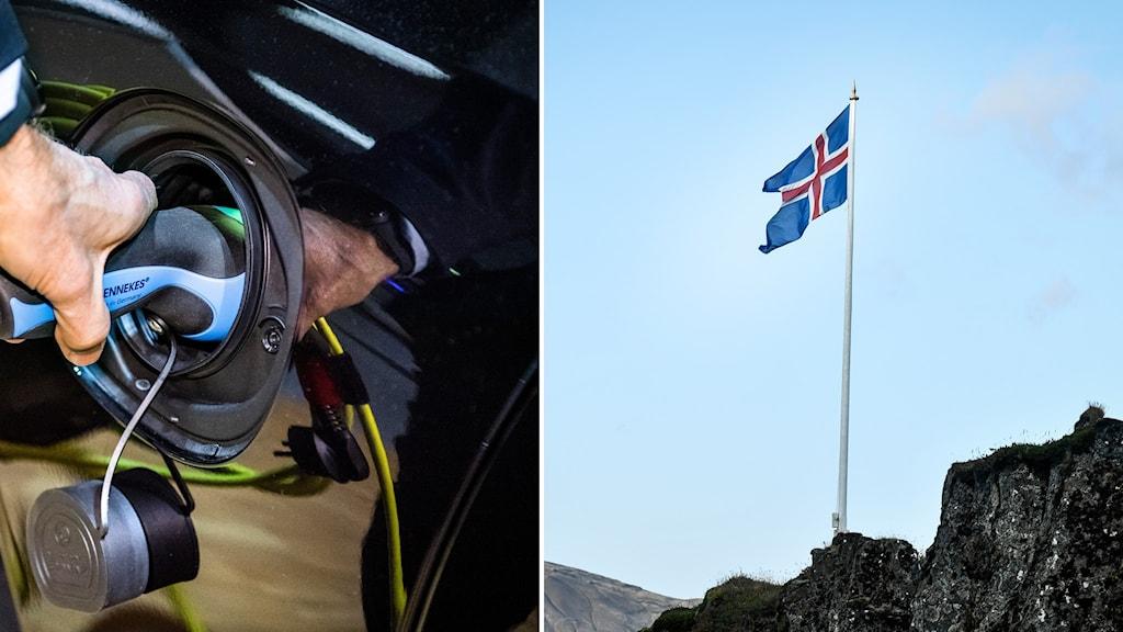Bildsplit på laddningsbar bil och Islands flagga på en flaggstång.