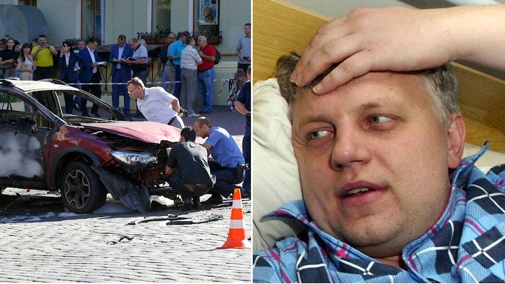 Journalisten Pavel Sjeremet mördades i centrala Kiev i ett bombattentat. Bildmontage av Sjeremet och den förstörda bilen.