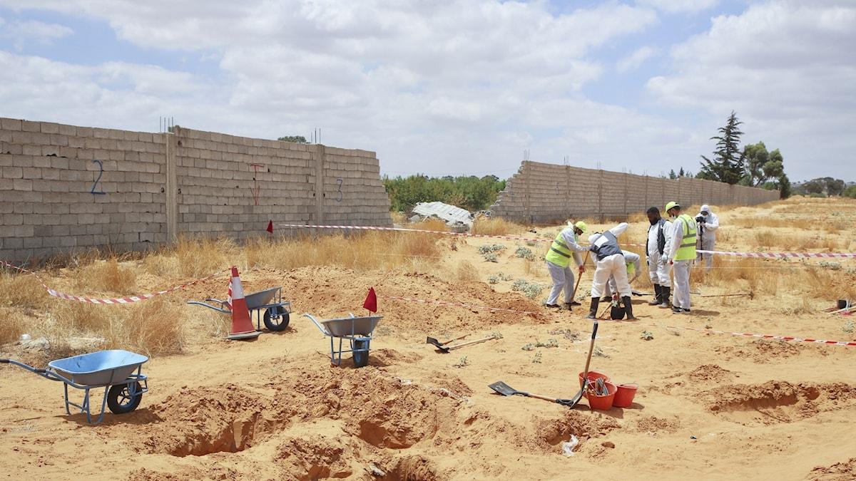 Brutal milis kopplas till massgravar i Libyen