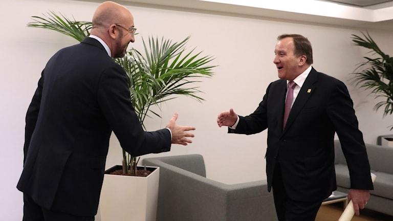 EU:s ordförande Charles Michel och statsminister Stefan Löfven.