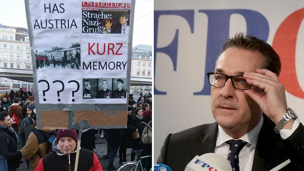 Demonstrant med en skylt och Heinz-Christian Strache, partiledare för FPÖ.