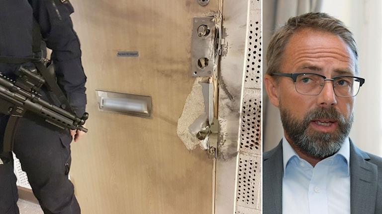 Polis utanför en av lägenheterna för tillslaget och åklagare Hans Ihrman