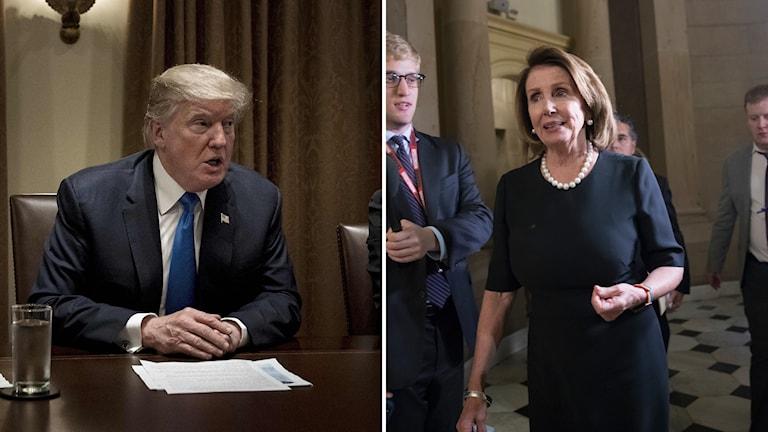 Bildkollage med en man som sitter vid ett bord och en kvinna som går.