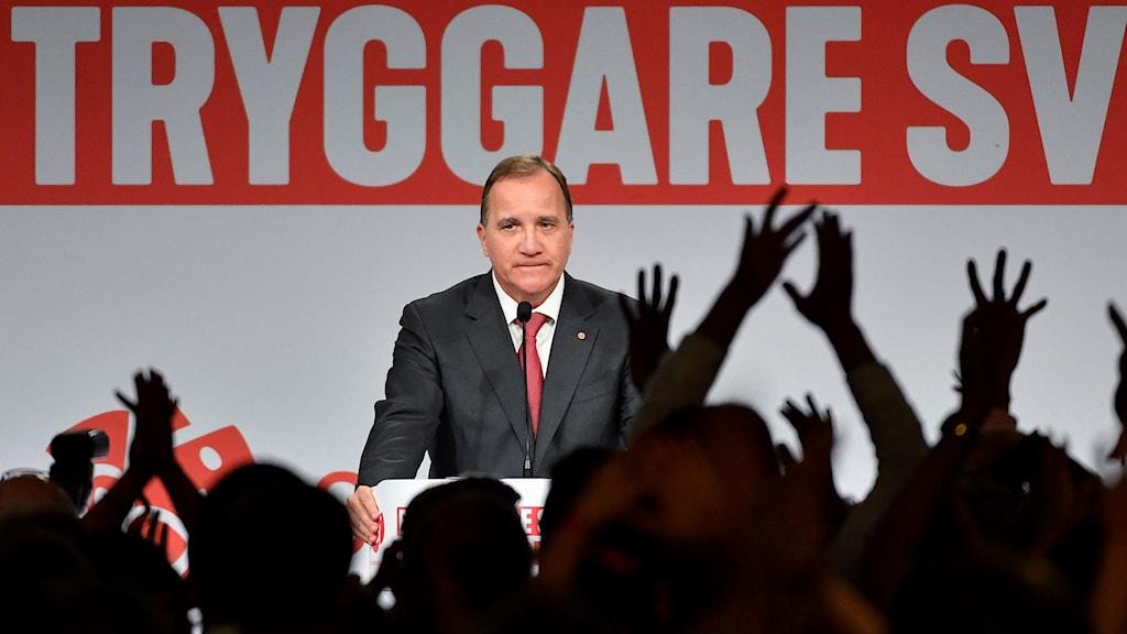 Socialdemokraternas partiledare Stefan Löfven efter valet. Foto: Jonas Ekströmer/TT.