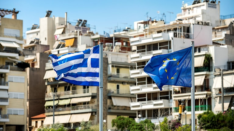 EU-Flagga Grekisk flagga EU Ekonomi