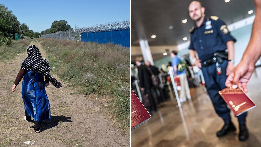 En kvinna går längs Ungerns taggtrådsstängsel mot Serbien samt passkontroll.