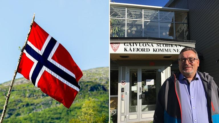 En norsk flagga och en bild på Svein Oddvar Leiros, ordförande i Kåfjord kommun i norra Norge.