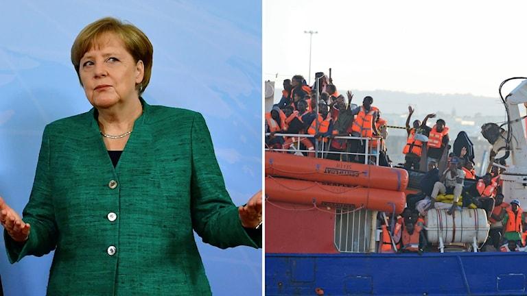 Arkivbilder. Angela Merkel. Flyktingbåt utanför Malta.