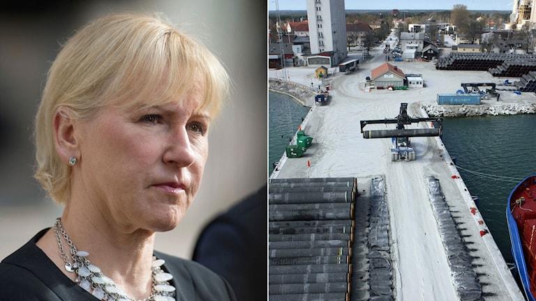 Utrikesminister Margot Wallström till vänster. Slite hamn på Gotland där rör till den första gasledningen ligger på rad.