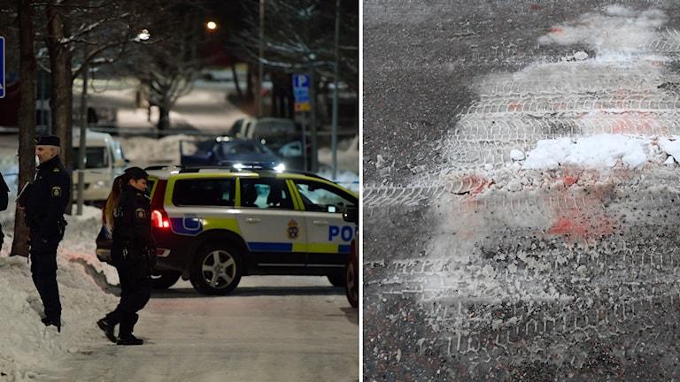 poliser, blod på marken