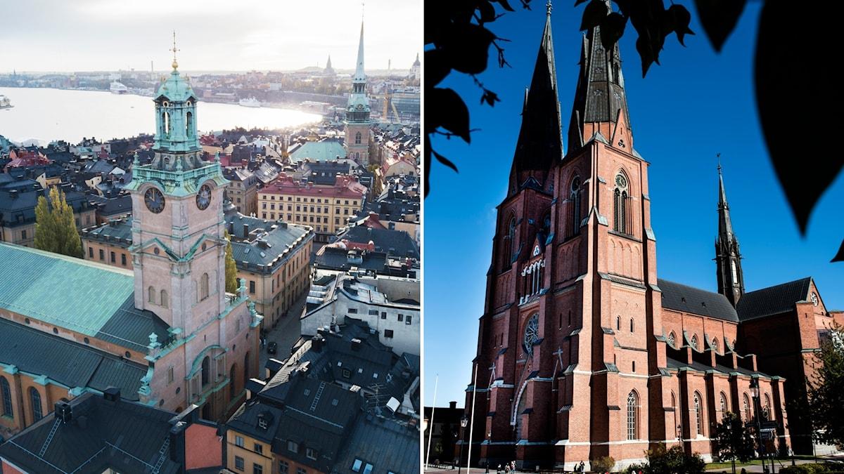 Storkyrkan och Uppsala domkyrka.