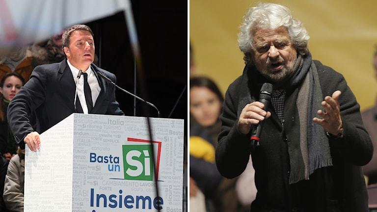 Bildkollage med Matteo Renzi och Beppe Grillo.
