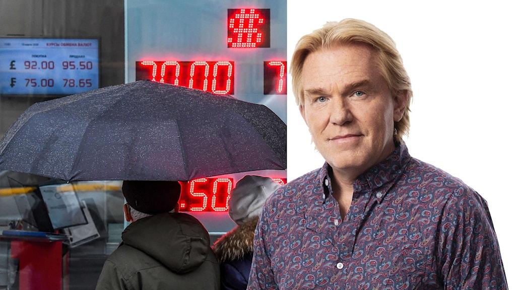 Bild på personer med paraply med valutaräknare i bakgrunden. Ekots Rysslandkorrespondent Jesper Lindau till höger.