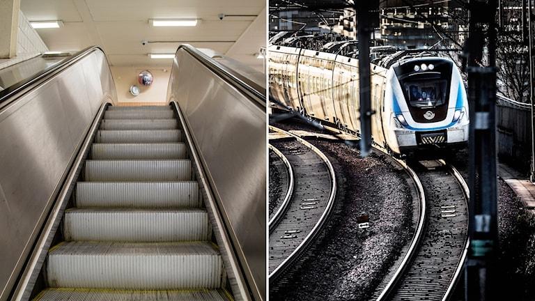 rulltrappa, pendeltåg