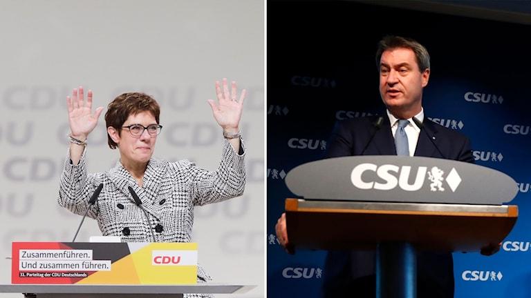CDU:s nya ledare Annegret Kramp-Karrenbauer och CSU:s ledare Markus Söder.