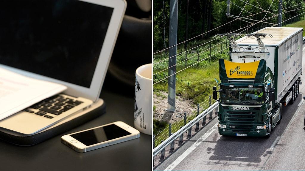 Delad bild: dator och mobil och en elektrifierad väg med en lastbil.