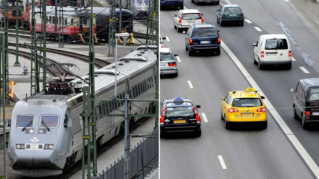 X2000-tåg påväg in på en tågstation. Till höger bilar på en motorväg.