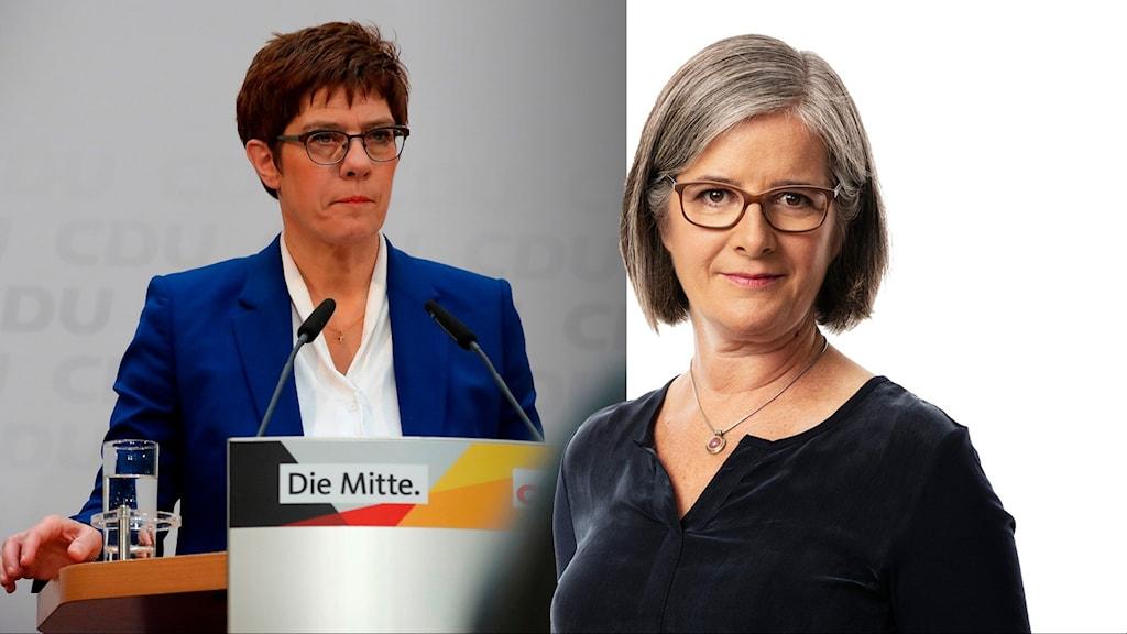 Kristdemokraterna CDU:s partiledare Annegret Kramp Karrenbauer och Sveriges Radios Daniela Marquardt