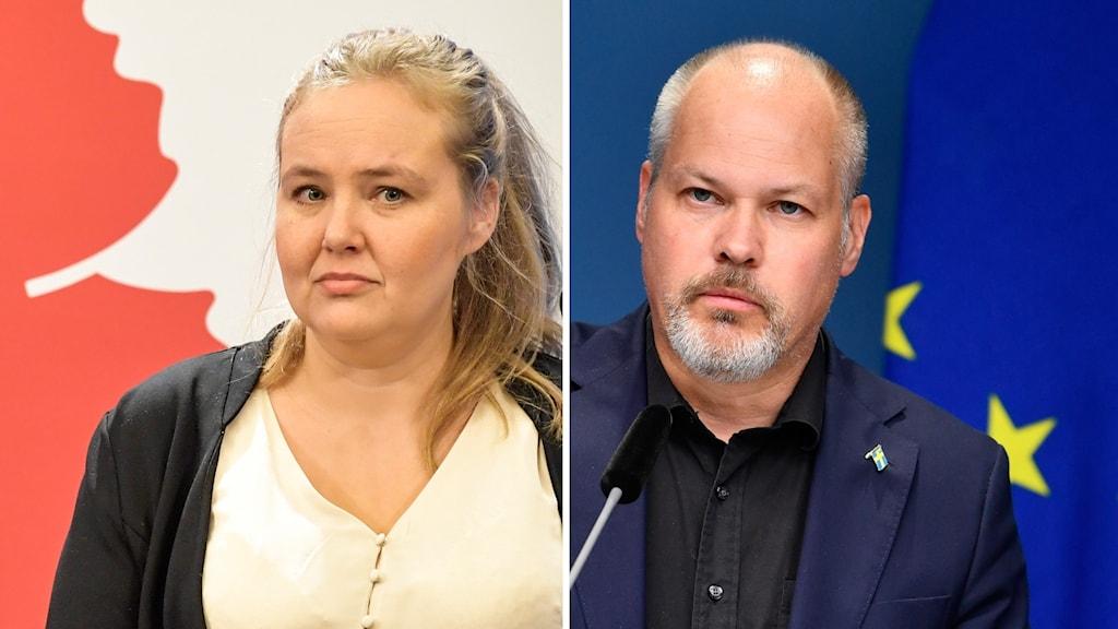 Ida Gabrielsson (V) och Morgan Johansson (S).