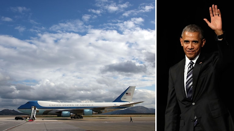 Ett flygplan och Barack Obama