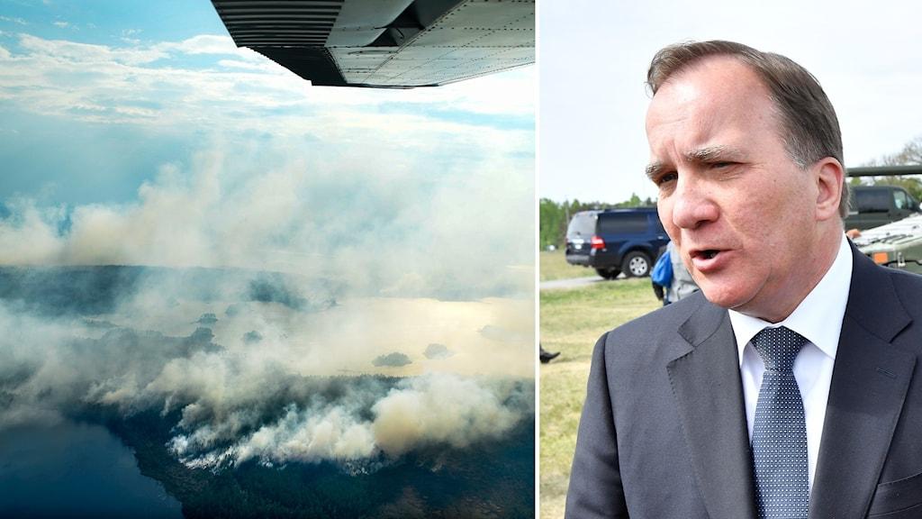 Split picture, forest fire and prime minister Stefan Löfven