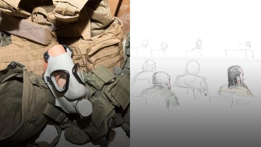 Polisens bild av fynd från tillslaget mot de åtalade, samt rättegångsillustration.