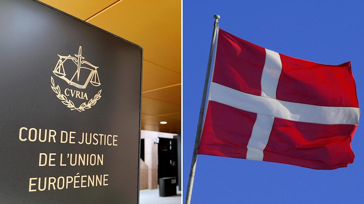 Vänster: EU-domstolens logotyp. Höger: Danska flaggan.