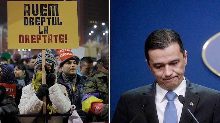 Till vänster, protester i Bukarest, och till höger premiärminister Sorin Grindeanu