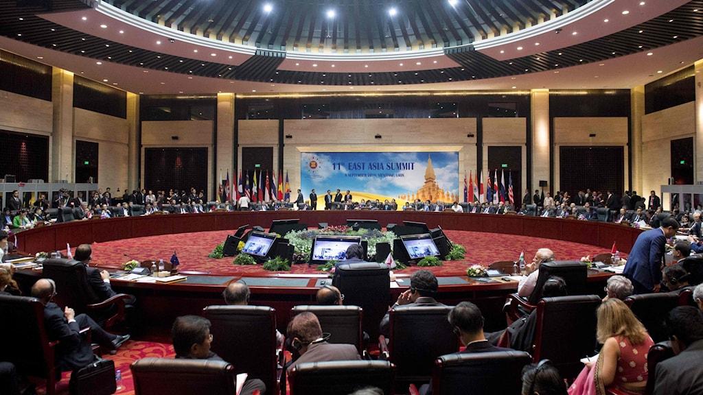 Bilden visar ledare som samlats för Asean-toppmötet.