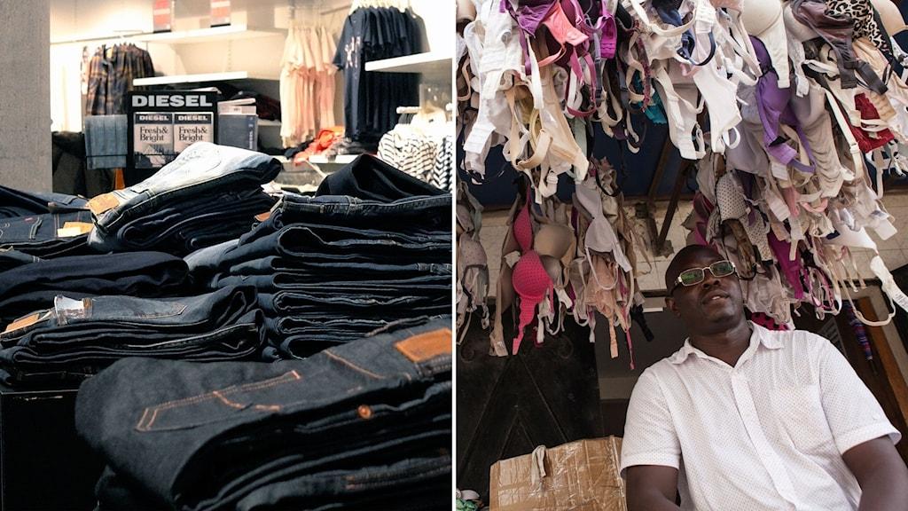 Delad bild: klädbutik som säljer nya jeans i Sverige, man som sitter under upphängda begagnade underkläder i Senegal.