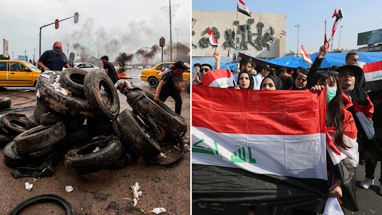 Demonstranter i Irak de senaste dagarna.