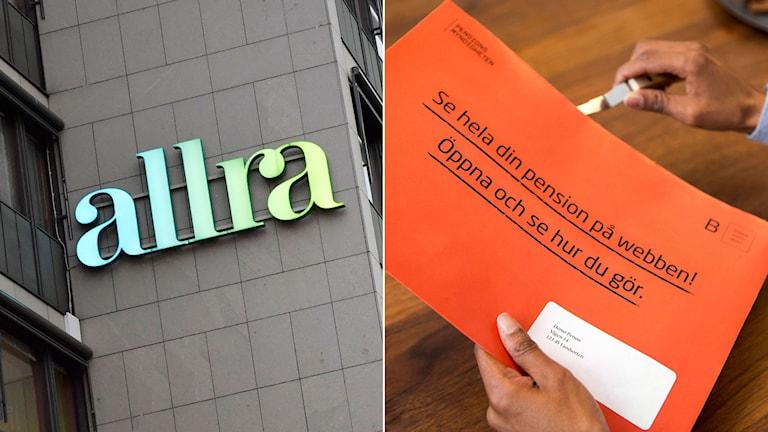 Husfasad med skylt där det står Allra till vänster. Till höger, man öppnar sitt pensionsbesked från PPM.