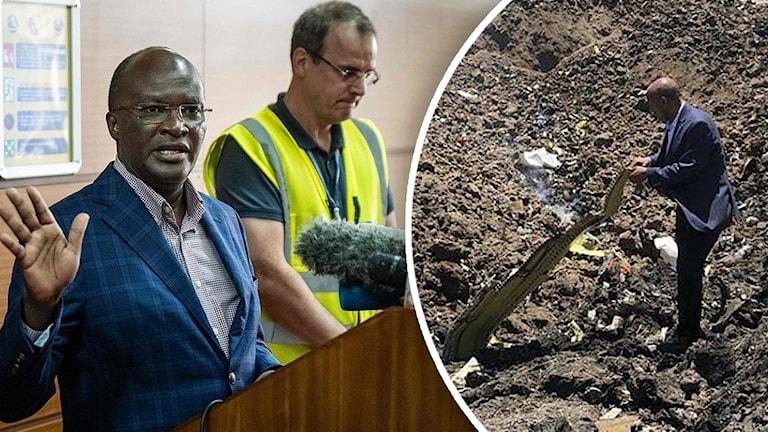 Ethiopian Airlines vd Tewolde Gebremariam visar upp en vrakdel från det störtade flygplanet